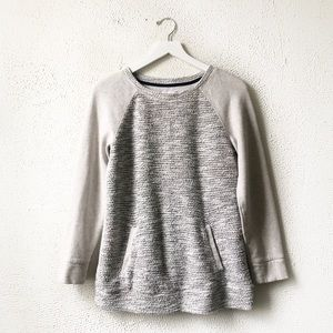 Lou & Grey | Gray Tweed Pocket Front Sweatshirt S
